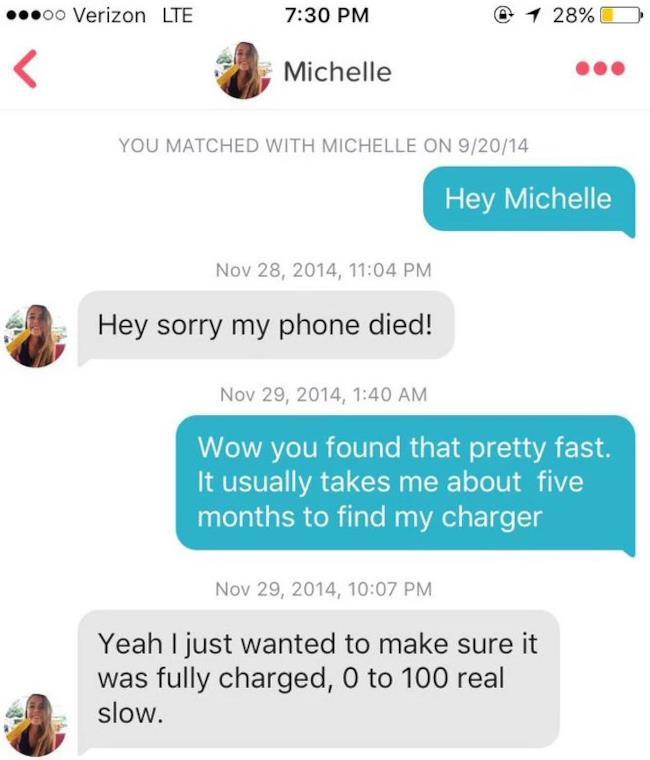 Una parte della conversazione che i due giovani hanno intrattenuto su Tinder.