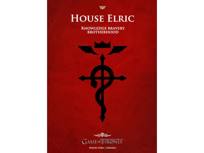 Casa Elric di Full Metal Alchemist in Game of Thrones