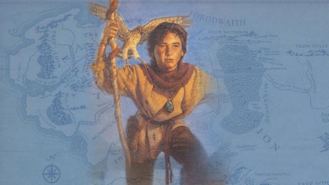 Mago Merlino da giovane, così raffigurato in una copertina della saga scritta da Barron.