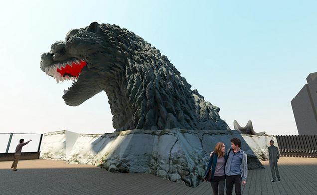 La statua di Godzilla al Gracery Hotel di Tokyo