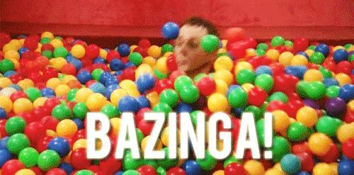 Sheldon e la scena del Bazinga nelle palle di plastica