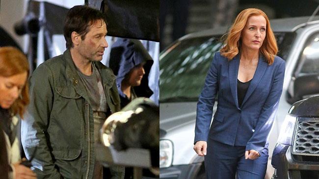 Duchovny e Anderson sul set di X-Files