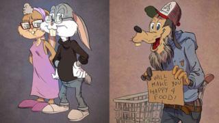 Bugs Bunny e i personaggi dei cartoni nell'età della pensione