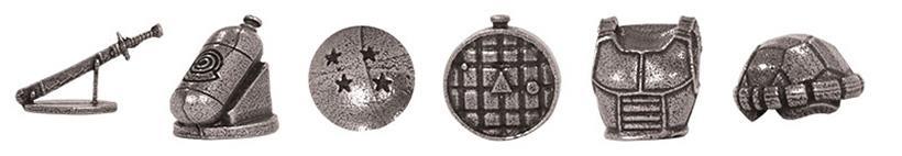 le sei miniature segnaposto di Monopoly DragonBall Z