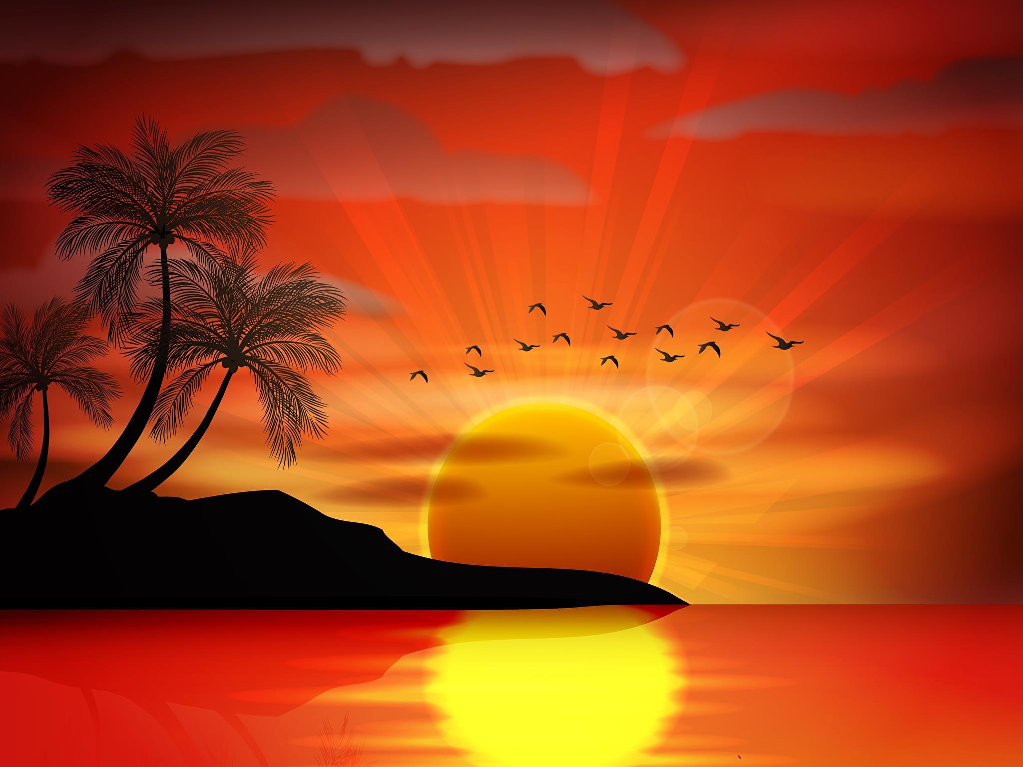 Il disegno di un tramonto - Sfondi per PC, iPhone, Android e profilo WhatsApp da scaricare