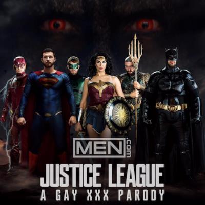 la locandina della parodia xxx gay di Justice League