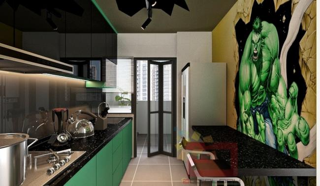 La cucina dell'appartamento ispirato agli Avengers ha come protagonista Hulk