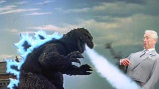 Il Principe Carlo attaccato da Godzilla