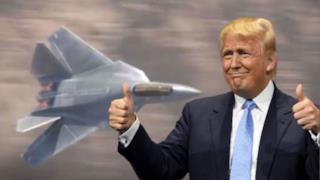 Trump con un F-52 sullo sfondo