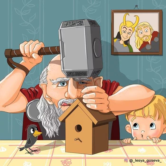 Thor in pensione che costruisce una casa per gli uccelli