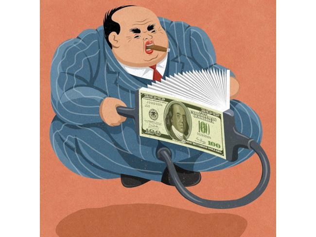 Illustrazione satirica di John Holcroft sui soldi