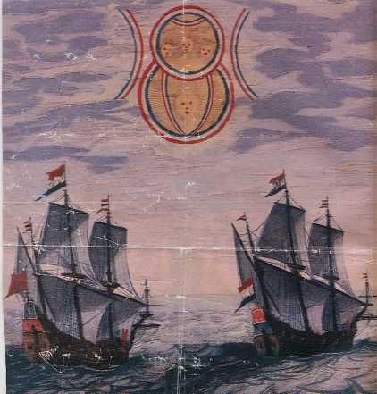Le 2 navi olandesi sovrastate da dischi alieni
