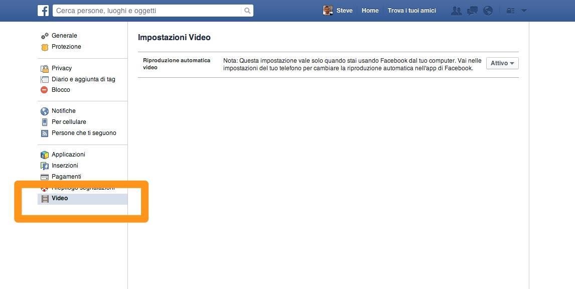 Sezione video delle impostazioni di Facebook