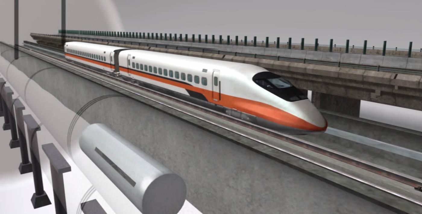 Il circuito Hyperloop in un modello di prova