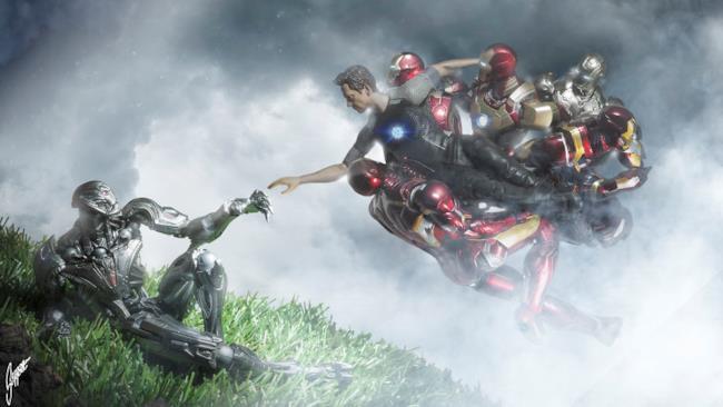 La creazione di Adamo con Iron Man e Ultron