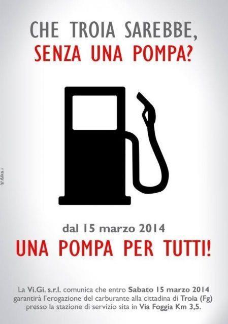 Promozione di pompe di benzina a Troia, in Puglia