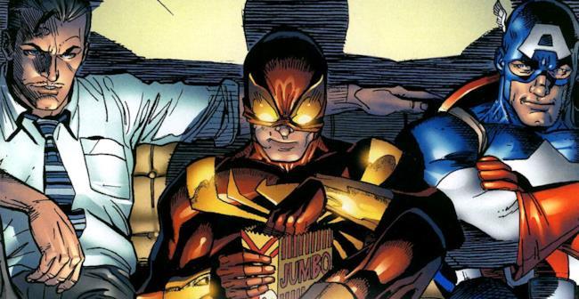 Iron Spider con Iron Man e Capitan America