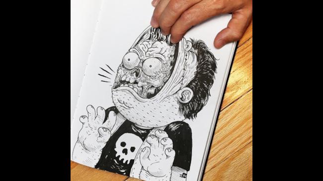 """Illustrazione in cui il disegnatore """"spella"""" il suo personaggio"""