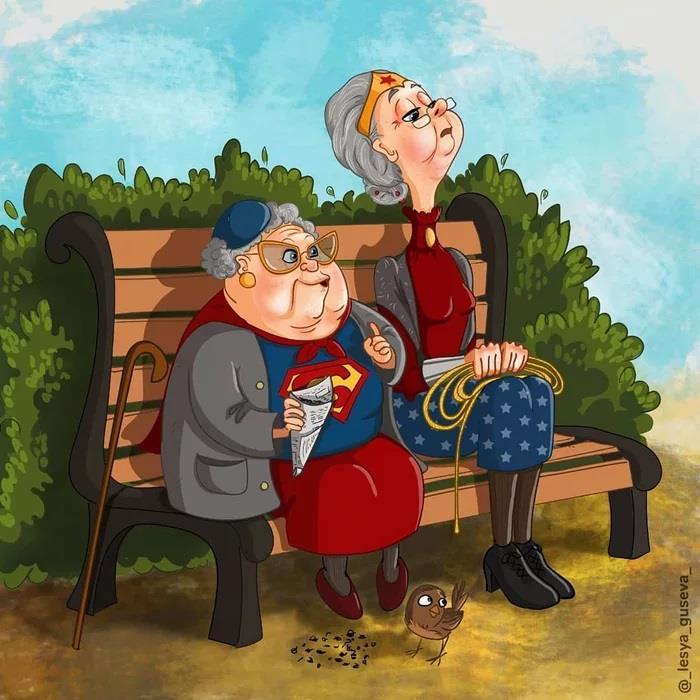 Supergirl e Wonder Woman su una panchina al parco