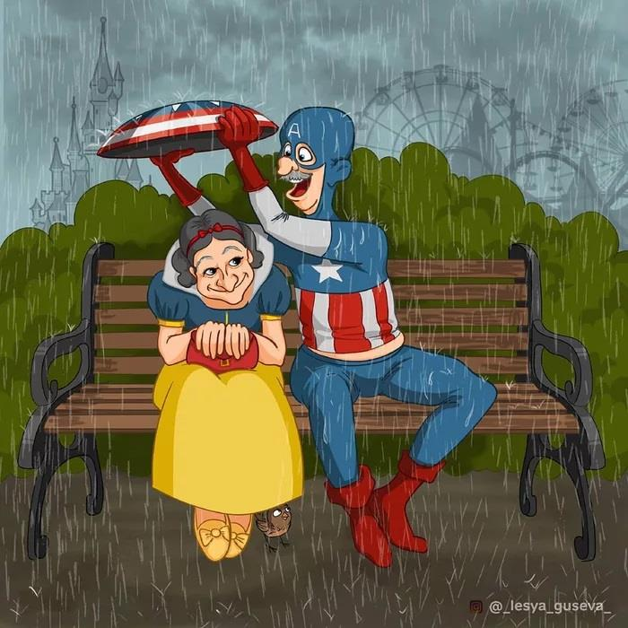 Captain America in pensione su una panchina