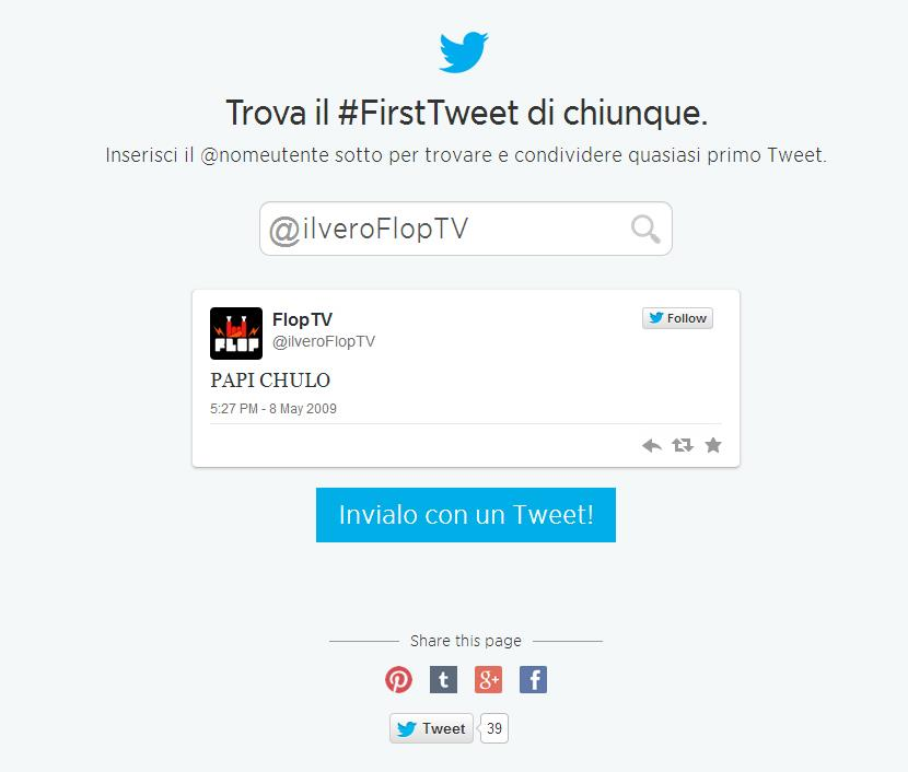 Il primo tweet di FlopTV