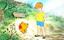 Winnie the Pooh e Christopher Robin in una scena del cartone Disney