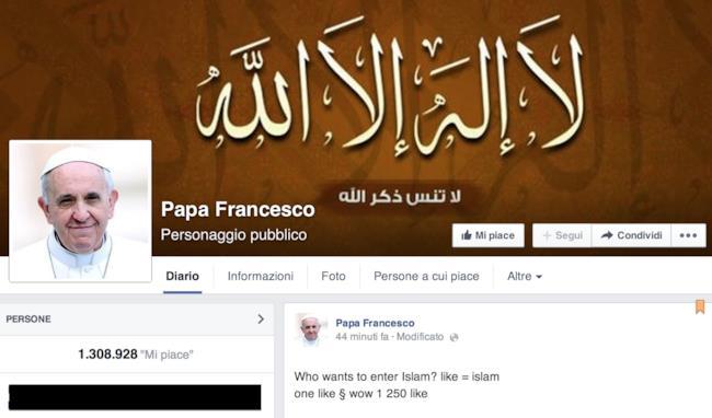 Immagine della pagina Facebook di Papa Francesco