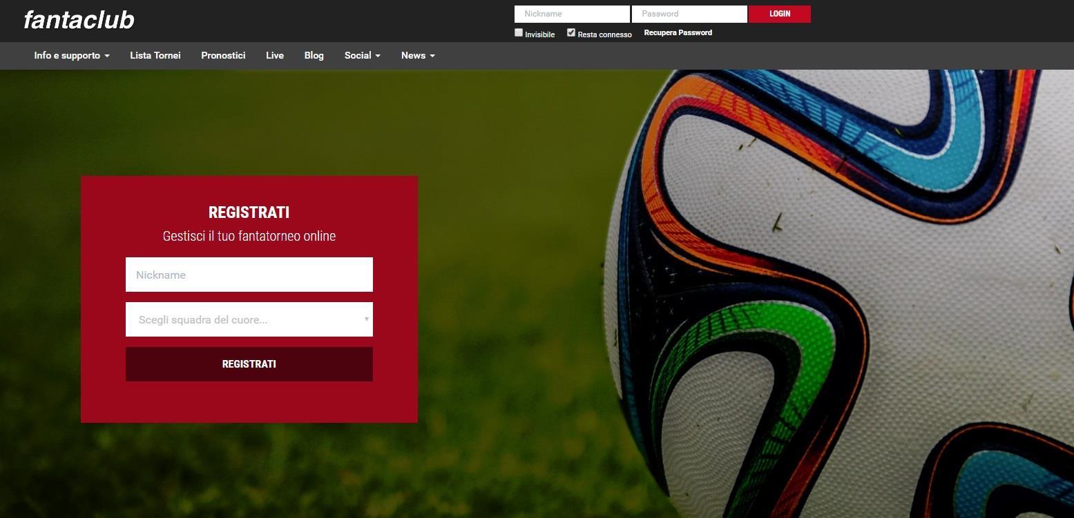 La home page di Fantaclub