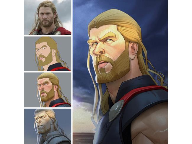 La caricatura di Thor