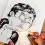 Il disegnatore tenta di incendiare il personaggio ma lui soffia sull'accendino