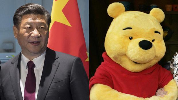 Winnie The Pooh, a destra, e Xi Jinping, a sinistra
