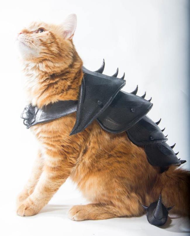 Un nobile felino con indosso un'armatura creata con la stampa 3D