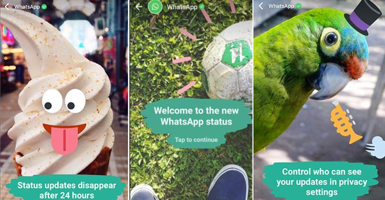 Schermate che spiegano come usare la nuova funzione di status di WhatsApp