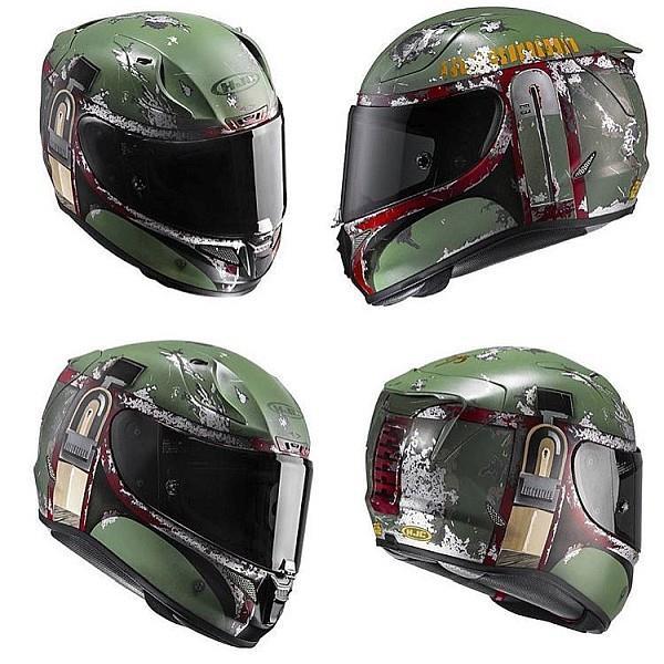 Caschi da moto ufficiali di Star Wars ispirati al cacciatore di taglie Boba Fett.