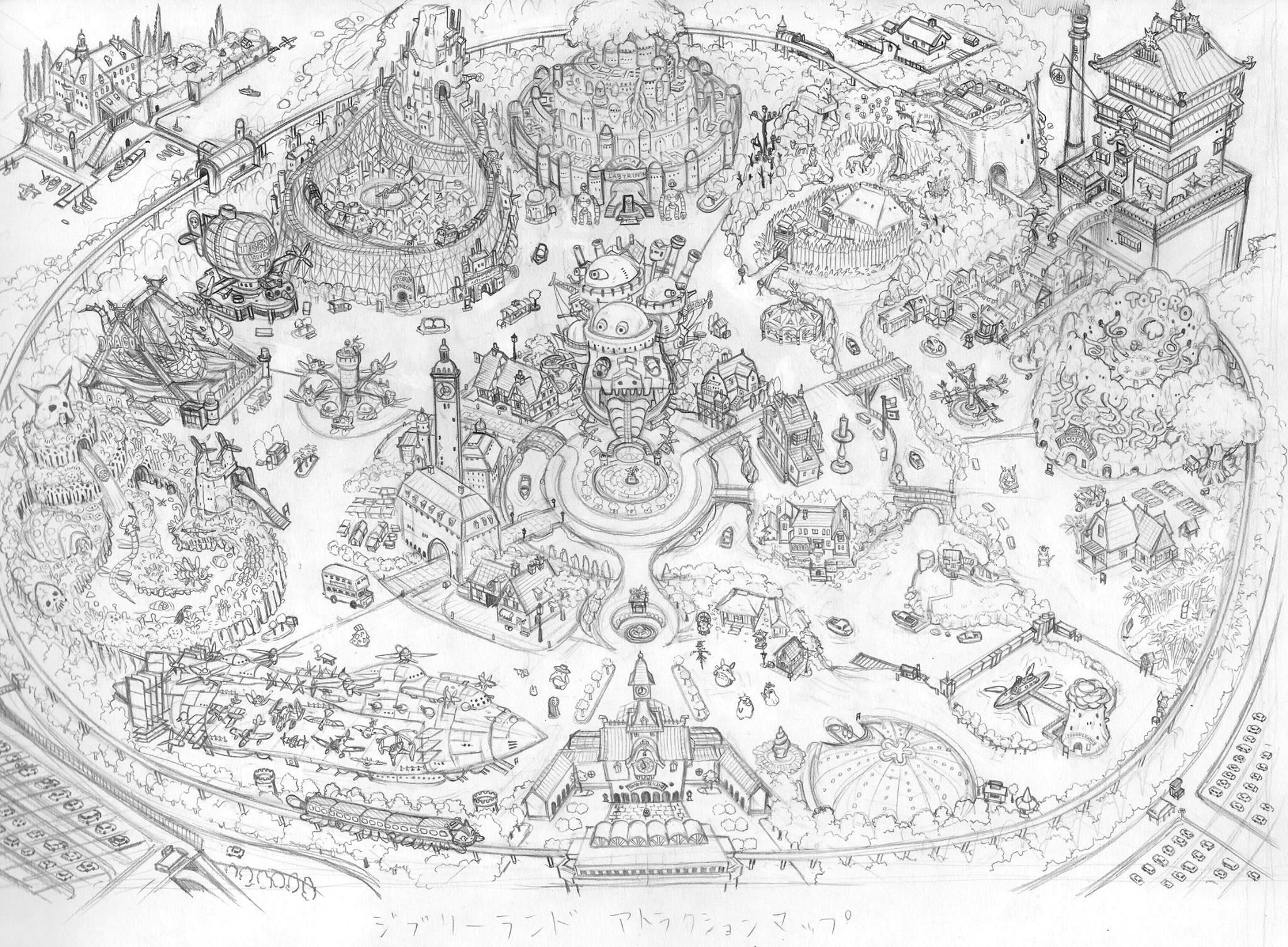 Mappa di Ghibli Land in bianco e nero