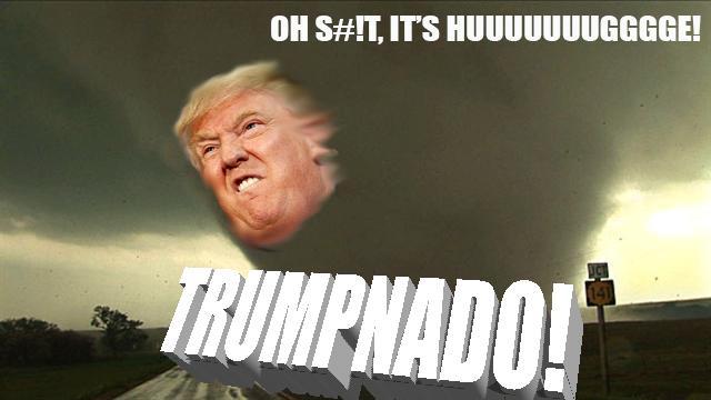Trump fuso ad un tornado