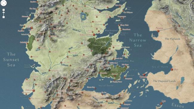 cartina interattiva di Westeros