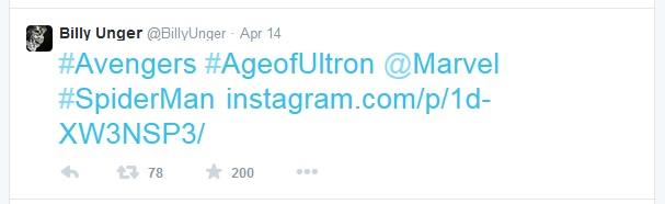Billy Unger twitta con l'hashtag #SpiderMan dalla prima di Avengers: Age of Ultron