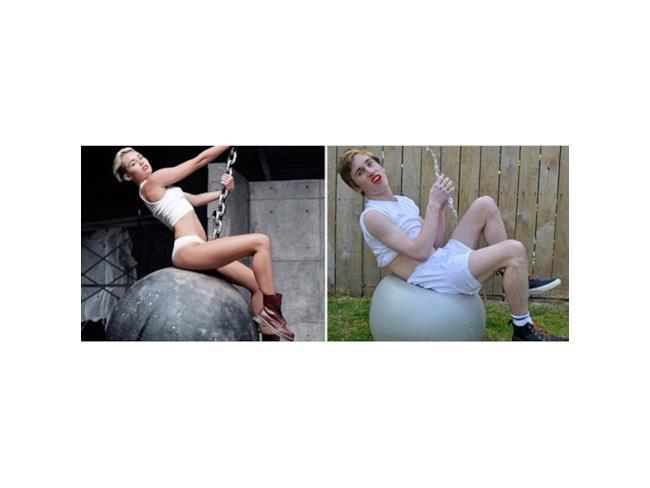 Versione low cost di Miley Cyrus sulla palla demolitrice
