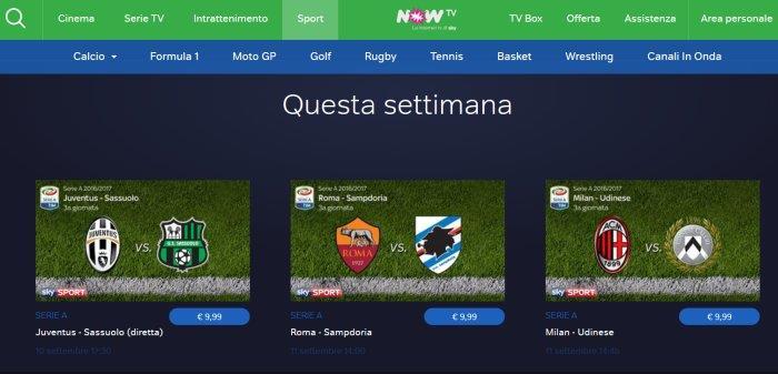 La schermata della sezione calcio di Now TV