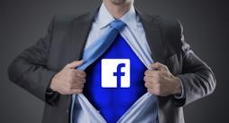 Uomo con tutta e logo Facebook