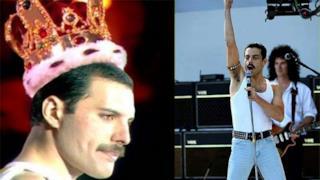 Freddie Mercury, a sinistra, e Rami Malek, a destra.