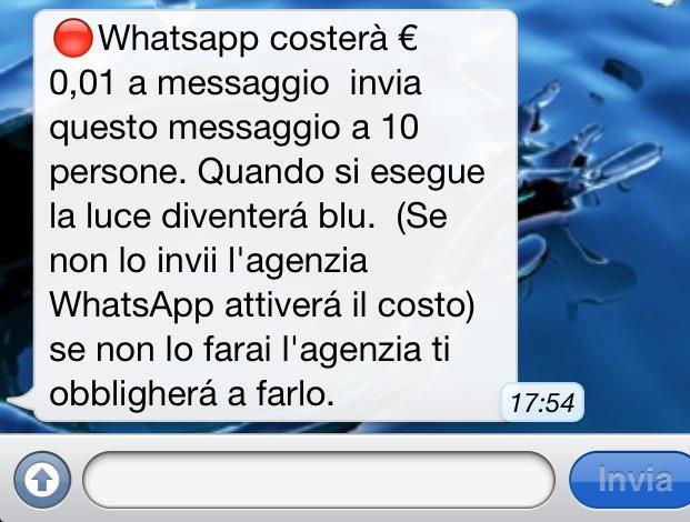 Un altro esempio di bufala su WhatsApp sotto forma di catena