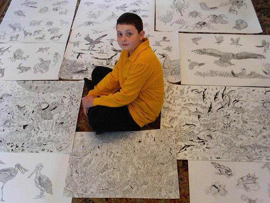 Enfant prodige che disegna veramente bene