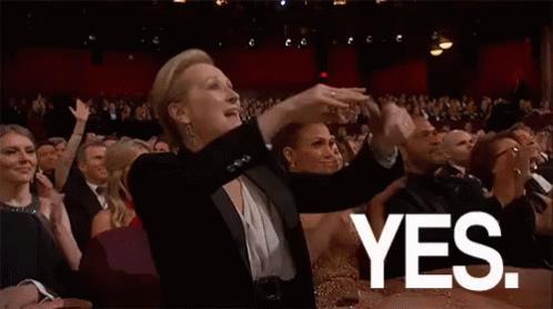 Meryl Streep urla yes agli Oscar- GIF di reazione ai commenti, le più divertenti da usare su Whatsapp e Facebook