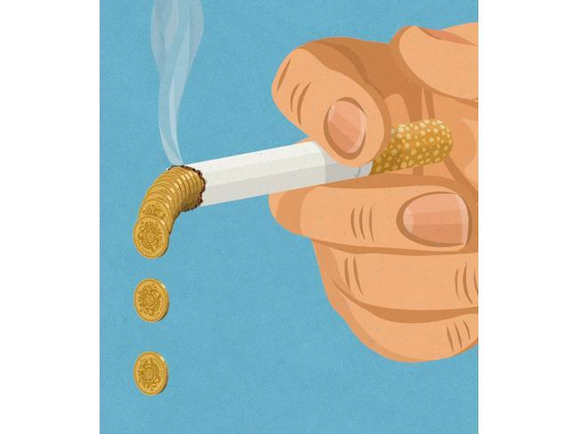 Illustrazione satirica di John Holcroft sul fumo