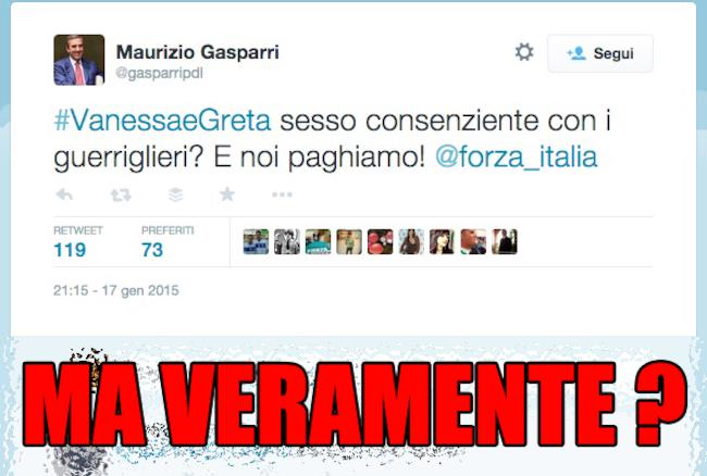 Tweet di Gasparri su Greta e Vanessa