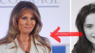 Un'immagine di Melania Trump adesso e da giovane