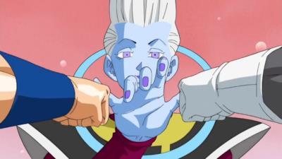 Whis si scontra con Goku e Vegeta