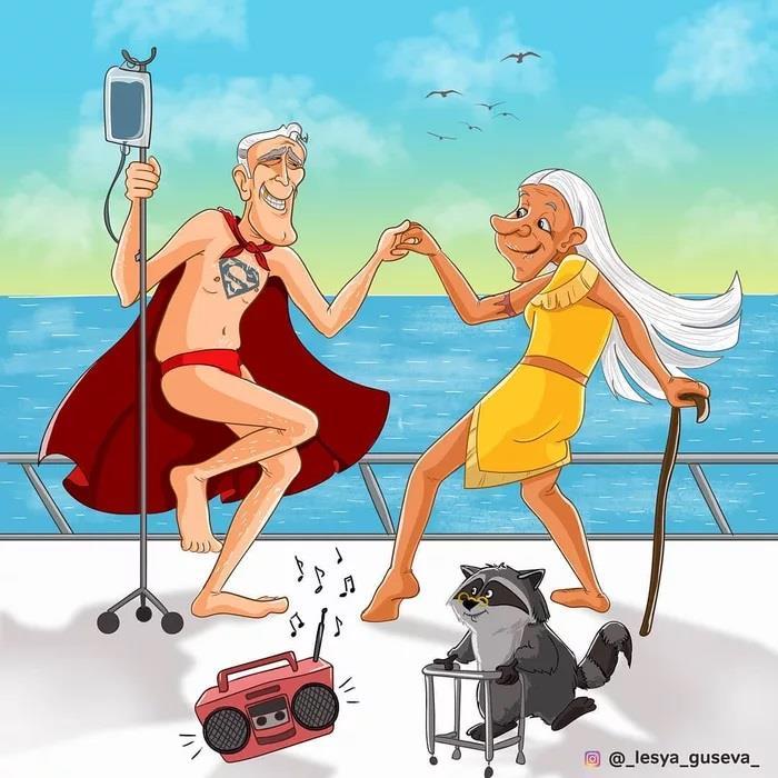 Superman da vecchio che balla